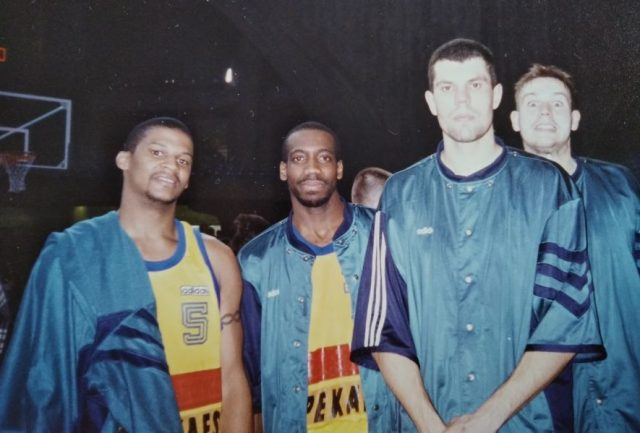 Gwiazdy zespołu z Pruszkowa - od lewej: LaBradford Smith, Tyruce Walker, Krzysztof Dryja, Piotr Szybliski / fot. archiwum prywatne